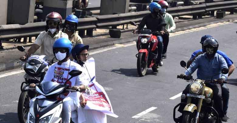 Mamta Banerjee on E-bike